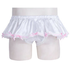 Mens Lingerie Shiny Bowknot Ruffled Skirted Panties Sissy Lace Briefs Underwear