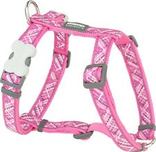 Red Dingo Patterned HOT PINK Harness for Dog or Puppy | Sizes XS - LG | FREE P&P