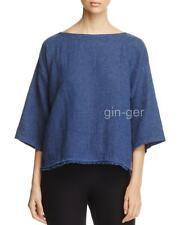 NWT $178 EILEEN FISHER Org Linen Cotton Dblweave Fringed Box Top DENIM XS S M