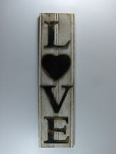 Country Primitive Rustic White Black Heart Love Sign Wainscoting Wood Home Decor