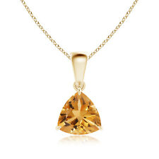 "Solitaire Natural Citrine Trillion Pendant Necklace 14K Yellow Gold 18"" Chain"