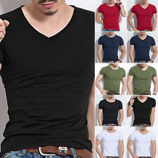 Solid Men's Casual Slim Fit Short Sleeve T-shirts Plain Tee Shirt Tops Pullover