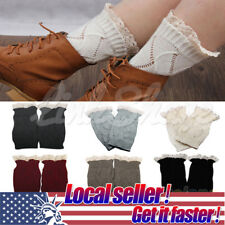 US LOCAL Womens Crochet Knit Knitted Lace Leg Warmers Cuffs Toppers Boot Socks