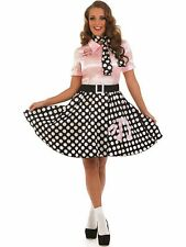 Ladies 50s Rock n Roll Costume Pink Poodle Polka Dot Fancy Outfit Plus 16-26 NEW
