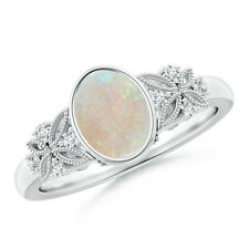 Bezel Set Vintage Style Oval Opal Ring with Diamond Accents 14K White Gold