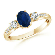 Classic Oval Blue Sapphire and Diamond Three Stone Ring 14K Yellow Gold