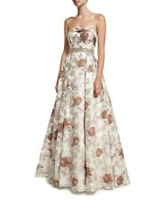 NWT Designer Strapless Floral Brocade Bustier Ball Gown