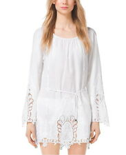 NWT $160 MICHAEL Michael Kors Embroidered Cotton-Voilé Tunic White