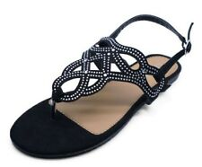 LADIES FLAT BLACK TOE-POST DIAMANTE SUMMER SANDALS FLIP-FLOPS HOLIDAY SHOES 3-8