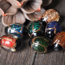 Lot Oval Gold Sand Glass Spacer Lampwork Buddha Beads DIY Jewelry Making 20*14mm