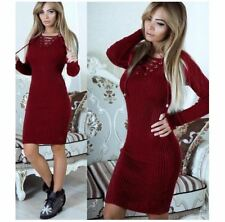 Women New Arrival  V-neck Long Sleeve Lace Up Casual Slim Midi Dress