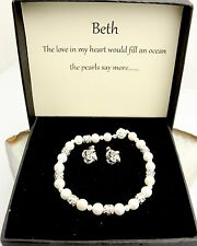 Freshwater Pearl Bracelet Necklace Sterling Silver Beads Clasp & Stud Earrings.