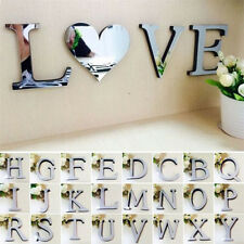 26 Letters Acrylic Art 3D Wall Mirror Stickers Removable DIY Home Decals Decor