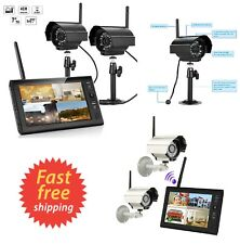 "Wireless Wired 7"" TFT LCD 2.4G 4CH Security System Monitor Camera Recorder Night"