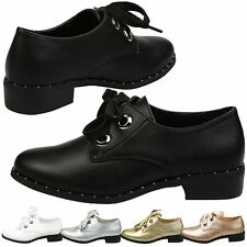 WOMENS SHOES LADIES BROGUES FLATS OXFORDS LACE UP RIBBON CASUAL STYLE SIZE NEW