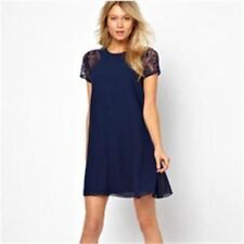 Solid Color Summer Loose Round Neck Short Sleeve Dress For Women N194