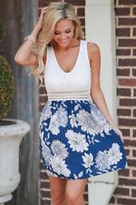 Women Sleeveless Floral Print Hollow Out V Neck Skater Mini Party Dress