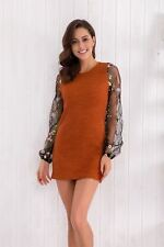 Women Long Sleeve O-Neck Flower Embroidery Knitted Bodycon Pencil Dress