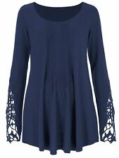 Together ladies top tunic plus size 14 16 18 20 24 26 blue lace sleeves pintuck