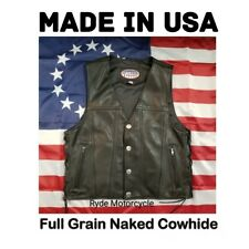 Made In USA Men's Premium Leather Vest -Buffalo Nickel - Side Lace Conceal Carry
