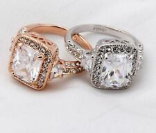 Women Rose Gold Color With Crystals Full Size Ring Jewelry
