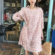 Women Long Sleeve Tassel Decorated White Pink Color Loose Knee Length Dress X10