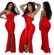 Women Red Color Lace Draped One Off Shoulder Long Wedding Party Dress