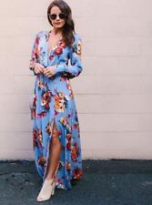 Women Print Autumn Wear Sides Split Long Sleeve V-neck Draped Long Dress
