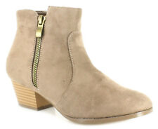 New Girls Brown Ankle Boots Luxurious Suedette Material Block Heel UK SIZES