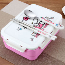 Girls Hello Kitty 2 Tier 3 Compartment Lunch Box Bento Lunchbox School Picnic