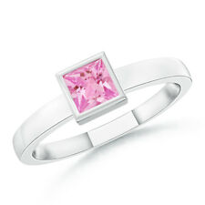 Bezel-Set Solitaire Square Pink Sapphire Stackable Ring 14K White Gold Size 3-13
