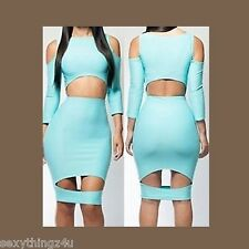 Blue Hollow Cutout Sexy Body Contour Dress -As Shown- Choose size 8-10-12