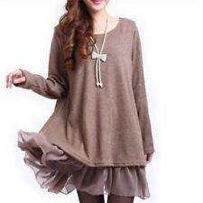 Women Round Neck Long Sleeve Wool Material Pullover Sweater Dress F548