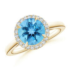 Cathedral Round Swiss Blue Topaz and Diamond Halo Ring 14k Yellow Gold