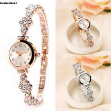 Fashion Women Stainless Steel Crystal Dial Quartz Bracelet Wrist Watch LL