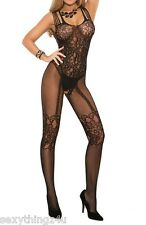BLACK  STRAPPY SHOULDER  LACE LOOK BODY STOCKING - Choose Size 8-10-12