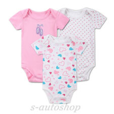 3pcs Baby Creeps Two White and One Pink For Cute Baby Girls