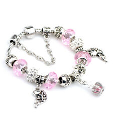 Women 925 Silver Plated Beaded Crap Fish Animal Charm Bracelet Gift Jewelry
