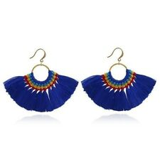 Women Half Round Shape Cotton Material Candy Color Tassel Decorated Earrings