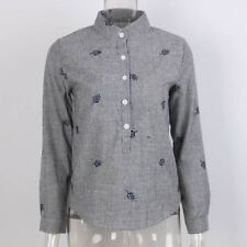 Women Embroidery Autumn Long Sleeve Striped Cotton Shirt Plus Size NEW136