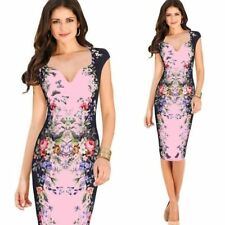 Women Elegant Floral Butterfly Print Pinup Cap Sleeve Casual Party Dress