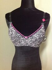 Q-T INTIMATES NURSING BRA SOFTCUP PINK WITH BLK OVER LACE: STYLE 378  NEW