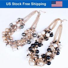 Chunky Collar Choker Imitation Pearls Multi Strands  Plated Gold Necklace