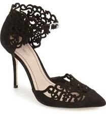 KLUB NICO Roxie Black Suede Pointy Toe Stiletto Heel Laser-cut Luxe Caged Pump