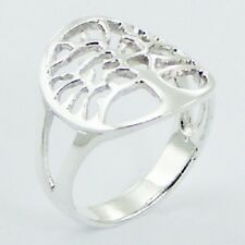 Silver ring 925 sterling round shiny silver Tree of Life  sizes 6us 7us 8us 9us