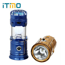 Portable Lantern Light Camping LED USB Fan Phone Charge Solar Powered Outdoor