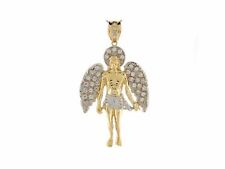 10k or 14k Two Tone Gold White CZ 7.4cm Angel Religious Large Pendant