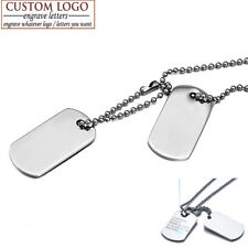 Men Woman Stainless Steel Double Dog Tag Military Army ID Pendant Necklace Gift