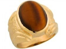 10k or 14k Solid Yellow Gold Nugget Synthetic Tiger Eye Handsome Mans Ring