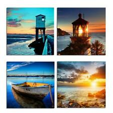Boat Wall Art Seaside Painting Ocean Seascape Sunrise Sunset 4 Panels Print o...